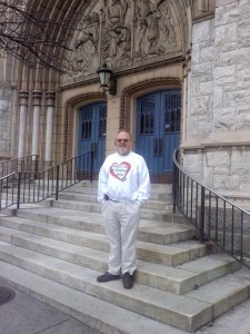 John Jackman on the steps of the former Salem UCC